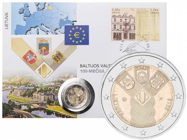 2 Euro Numisbrief Litauen 100 Jahre Unabhängigkeit 2018