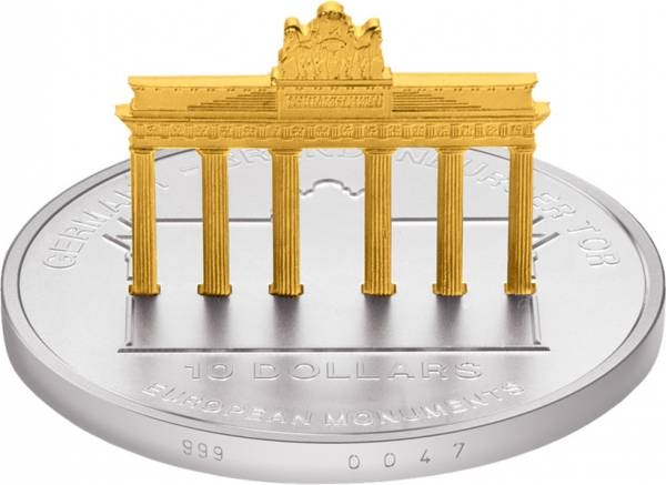 10 Dollars Nauru Brandenburger Tor 2002 Stempelglanz