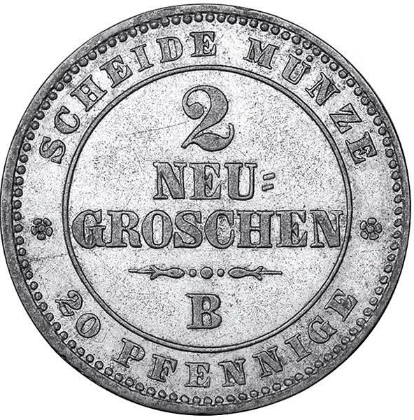 2 Neugroschen Sachsen  König Johann