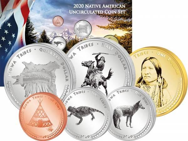 1 Cent - 1 Dollar Kursmünzensatz USA Kursmünzen der Kiowa Montana 2020