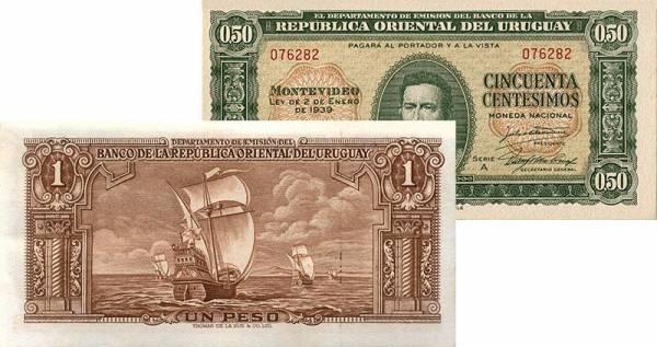 2er Set Banknoten Uruguay 1939