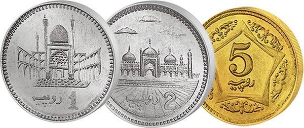 1, 2 und 5 Rupien Pakistan