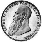 5 Mark Silber Georg II. Herzog v. Sachsen 1902 Sehr schön
