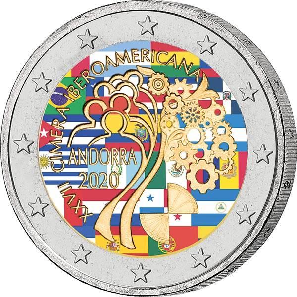 2 Euro Andorra XXVII. Iberoamrika-Gipfel 2020 in Andorra 2020 mit Farb-Applikation