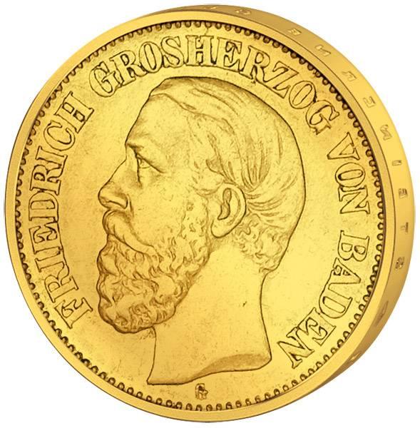 10 Mark Baden Friedrich I. 1875-88 ss-vz