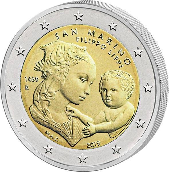 2 Euro San Marino 550. Todestag Filippo Lippi 2019