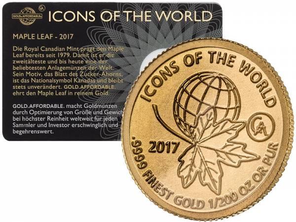 1/200 Unze Gold Ruanda Maple Leaf 2017