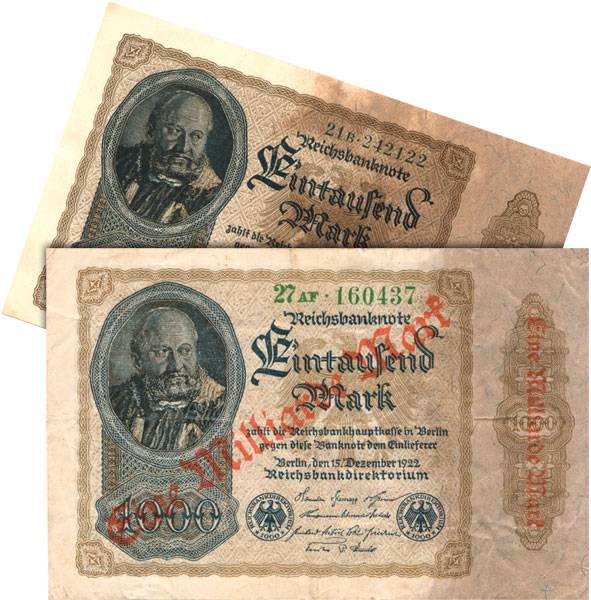 1.000 Mark und 1 Millarde Mark Weimarer Republik 1922     bankfrisch