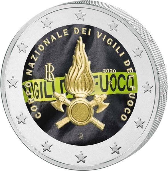 2 Euro Italien 80 Jahre Feuerwehr 2020 mit Farb-Applikation