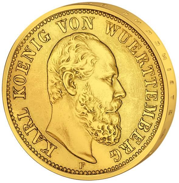 5 Mark Württemberg König Karl 1877-1878 Sehr schön