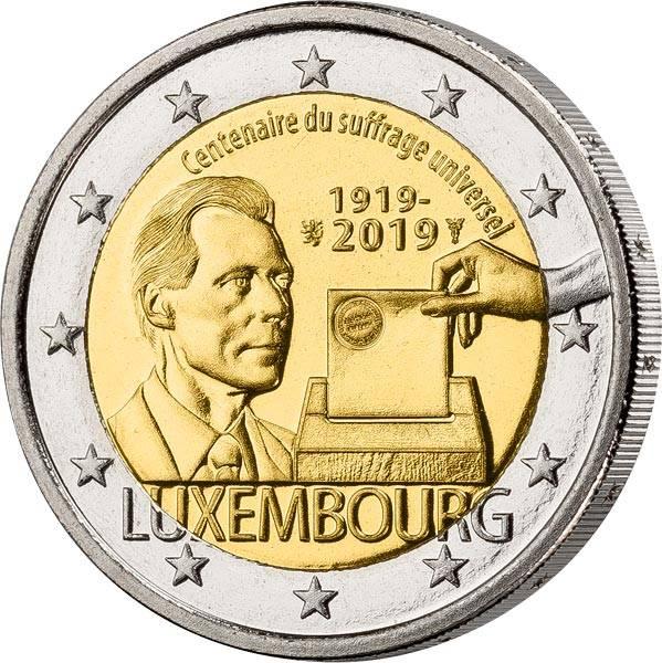 2 Euro Luxemburg 100 Jahre Allgemeines Wahlrecht in Luxemburg 2019