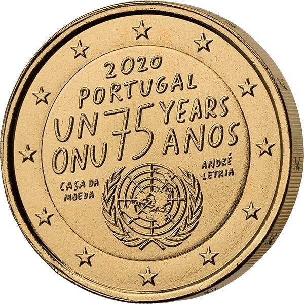 2 Euro Portugal 75 Jahre vereinte Nationen vollvergoldet 2020
