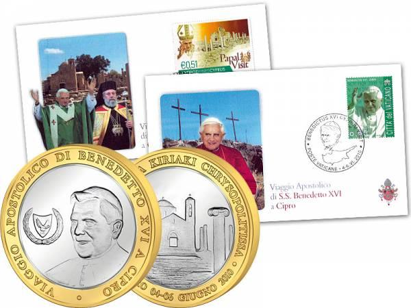 Gedenkset Papstbesuch in Zypern 2010 prägefrisch