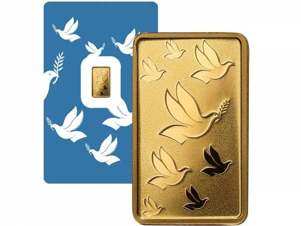 1 Gramm Goldbarren Schweiz Friedenstaube 2019