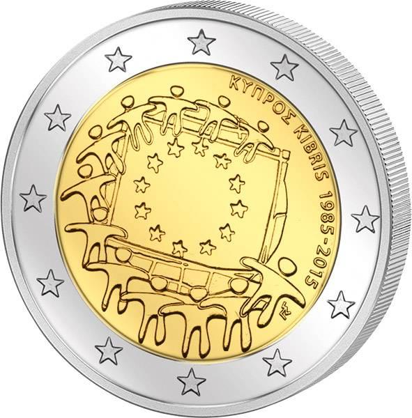 2 Euro 30 Jahre Europaflagge Zypern 2015