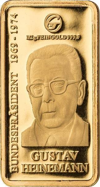 0,5 Gramm Goldbarren Gustav Heinemann