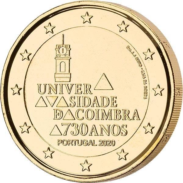 2 Euro Portugal 730. Jahrestag der Gründung der Universität von Coimbra 2020 vollvergoldet