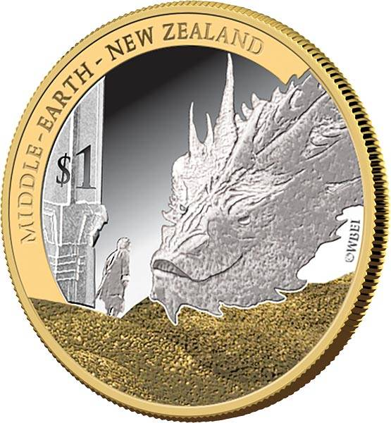 1 Dollar Neuseeland Der Hobbit - Die Schlacht der fünf Armeen 2014 mit Gold-Applikation