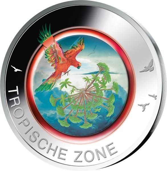 5 Euro BRD Tropische Zone 2017 mit Farb-Applikation