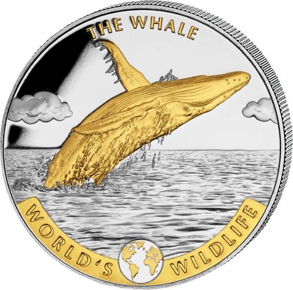 1 Unze Silber Kongo World´s Wildlife Wal 2020 mit Gold-Applikation