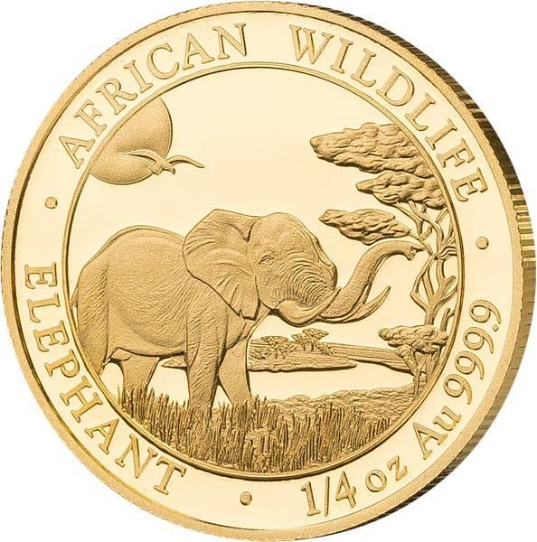 1/4 Unze Gold Somalia Elefant 2019