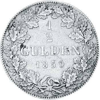 1/2 Gulden Hessen-Darmstadt Großherzog Ludwig II. 1838-1846 Sehr schön