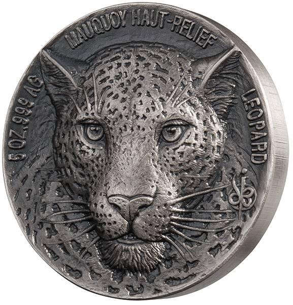 5 Unzen Elfenbeinküste Mauquoy Hoch-Relief Leopard 2018