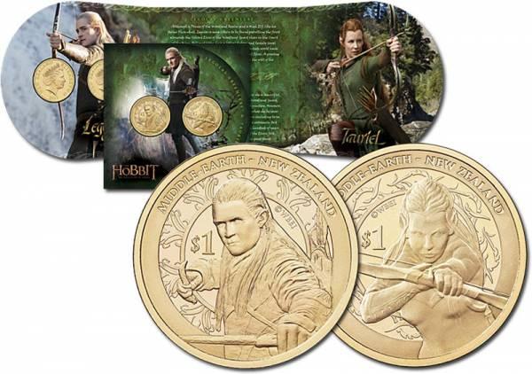 2 x 1 Dollar Neuseeland Der Hobbit - Smaugs Einöde Legolas und Tauriel 2013
