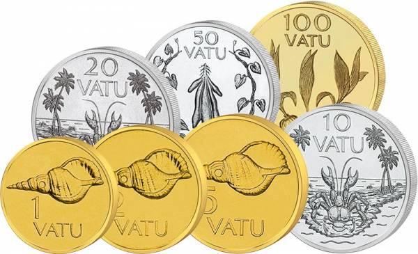 1 -100 Vatu Kursmünzen Vanatu 1983 - 2009