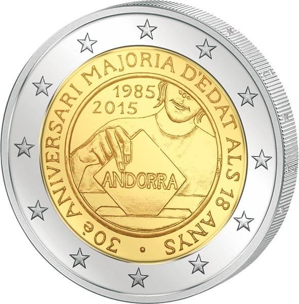 2 Euro Andorra 30 Jahre Volljährigkeit für 18-jährige 2015