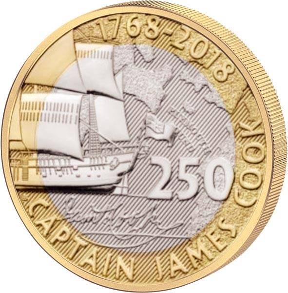 2 Pounds Großbritannien James Cook 250 Jahre erste Endeckungsreise 2018