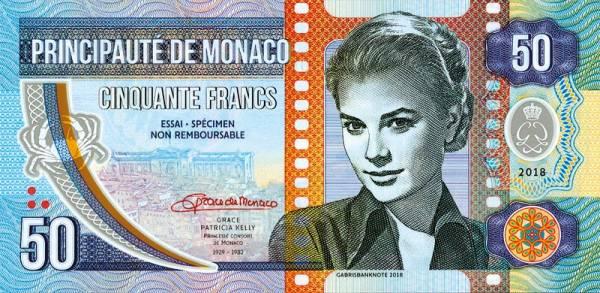 50 Francs Banknote Monaco Grace Kelly 2018