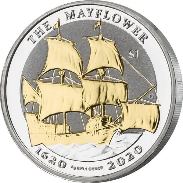 1 Dollar Jungferninseln Mayflower 2020 mit Gold-Applikation