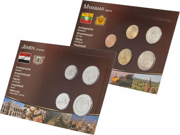 Kursmünzen-Set Jemen und Myanmar