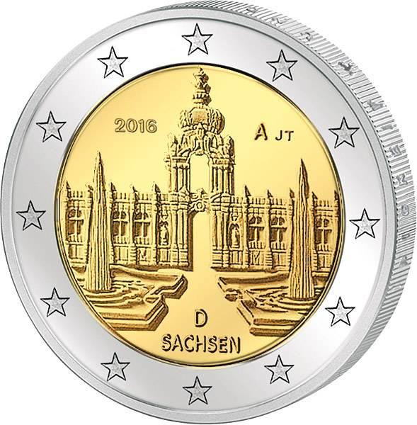 2 Euro BRD Sachsen Dresdner Zwinger 2016