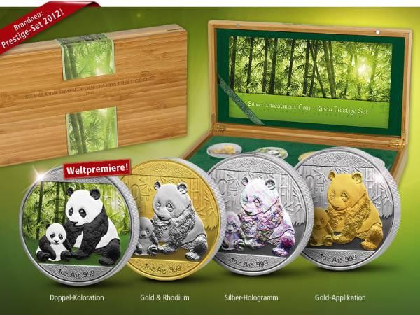 4 x 10 Yuan Silver Investment Coin Prestige-Set Panda 2012 Stempelglanz