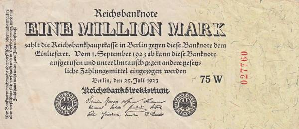 1 Million Mark Reichsbanknote 1923