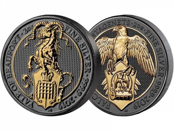 2 x 2 Unzen Silber Großbritannien Falke und Yale 2019 Golden Enigma Edition