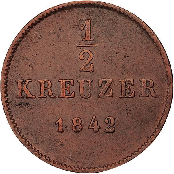 1/2 Kreuzer Württemberg König Wilhelm I.