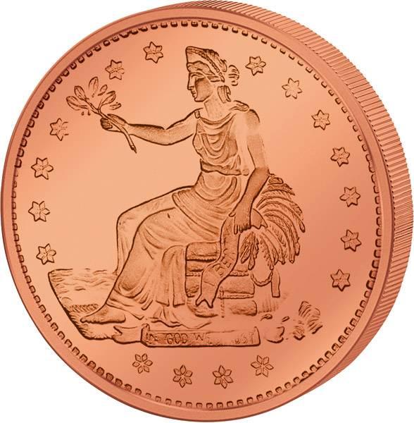 1 Unze Kupfer Gedenkprägung Trade Dollar