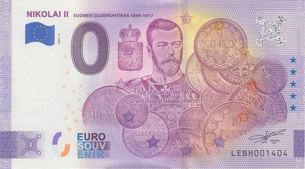 0-Euro-Banknote Finnland Nikolai II. 2020