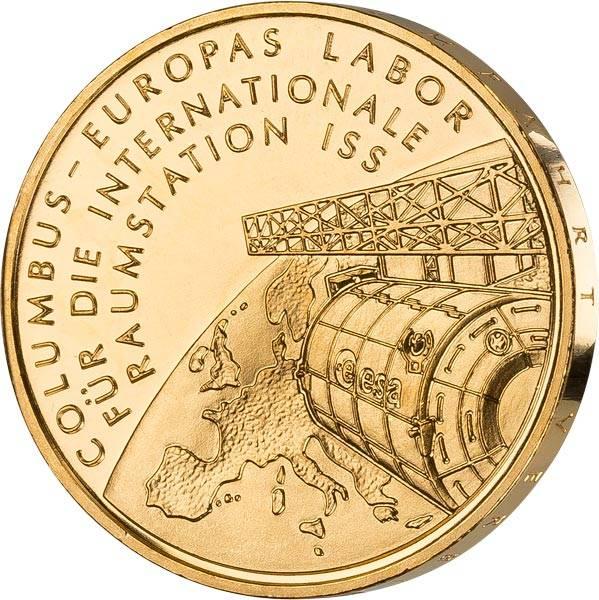 10 Euro BRD Columbus Internationale Raumstation ISS 2004 vollvergoldet