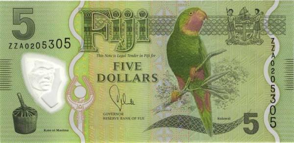 5 Dollars Fidschi Banknote Papagei 2012