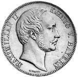 Vereinsdoppeltaler Silber Maximilian II. König v. Bayern 1861-64 prägefrisch