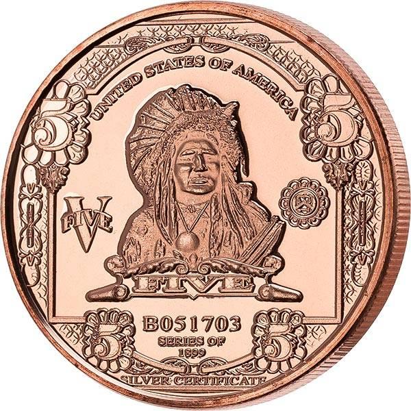 1 AVDP-Unze Kupfer Gedenkprägung Indian Chief Banknoten-Replica
