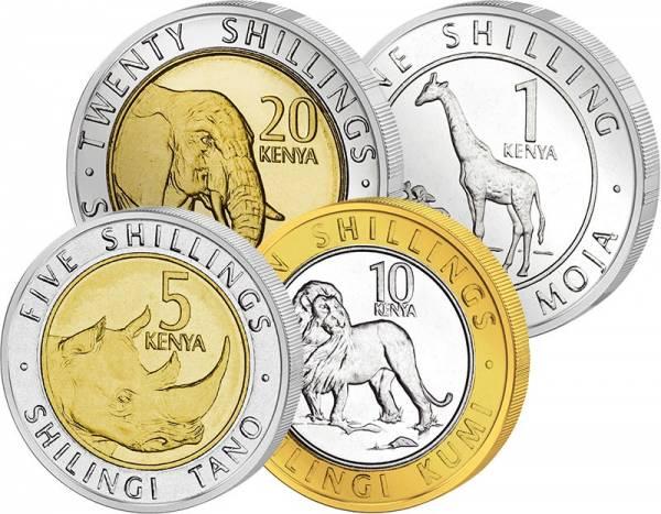 1 - 20 Shillings Kursmünzensatz Kenia 2018