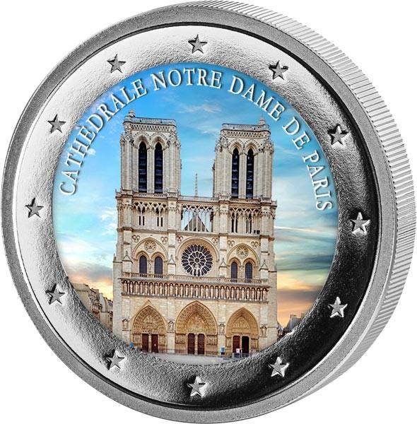 2 Euro BRD mit Farb-Applikation Notre Dame 2019