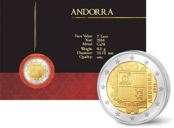 2 Euro Andorra Kursmünze 2014 prägefrisch