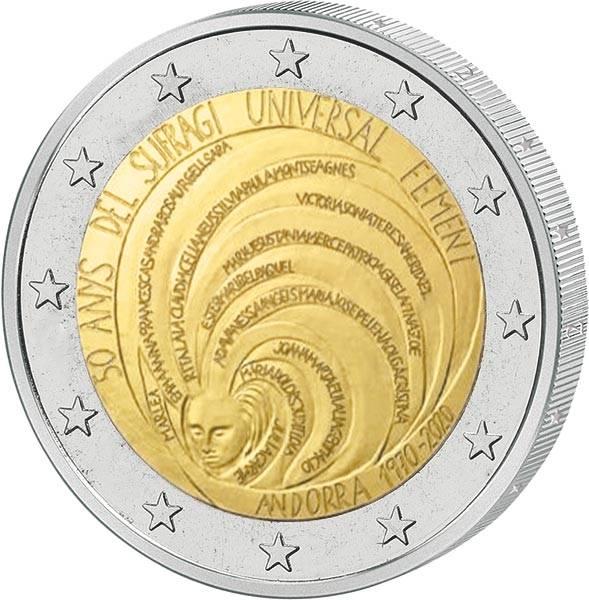 2 Euro Andorra 50 Jahre Allgemeines Frauenwahlrecht 2020