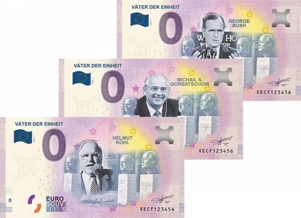 3er-Set 0-Euro-Banknoten Väter der Einheit 2018